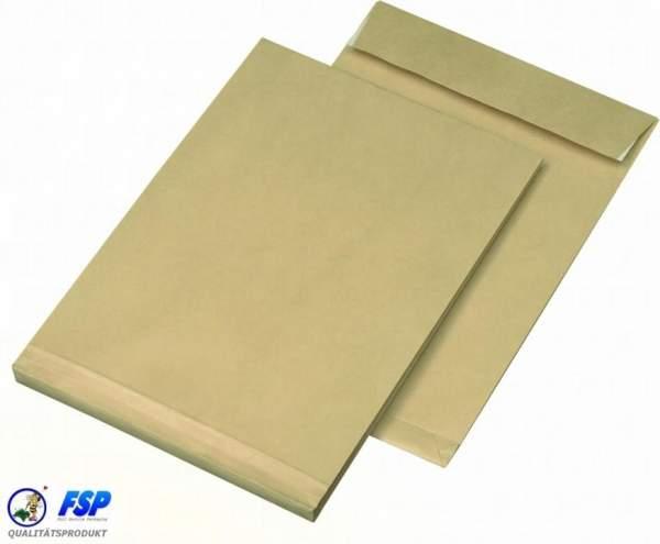 Braune DIN B4 Faltentasche 250x353mm ohne Fenster haftklebend