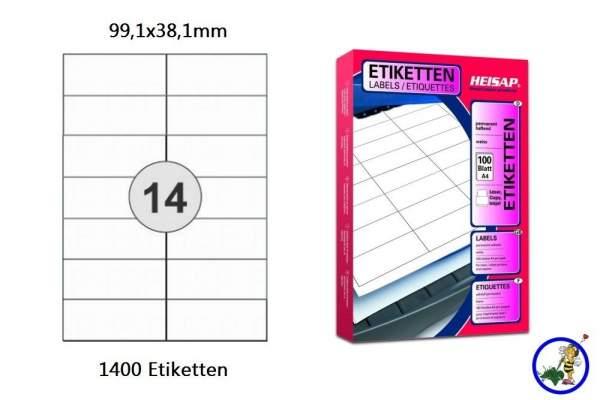 Papier-Etiketten 99,1x38,1mm DIN A4