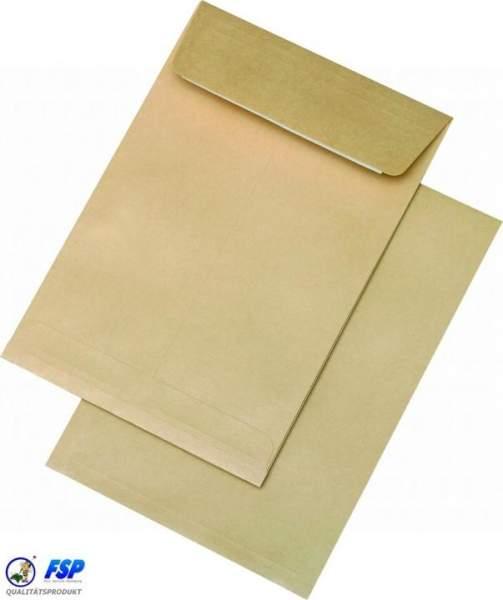 Braune Faltentaschen DIN B5 176x250mm ohne Fenster haftklebend
