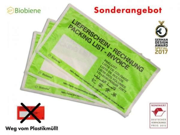 Grüne Lieferscheintaschen aus Papier DIN Lang (250 Stk.)