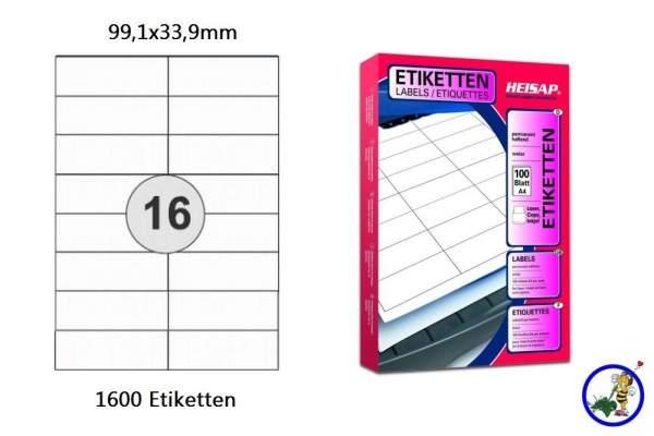 Papier-Etiketten 99,1x33,9mm DIN A4