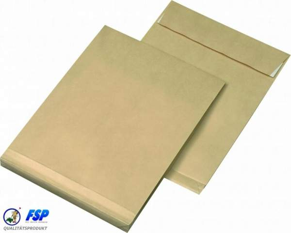 Braune DIN C5 162x229mm Faltentasche ohne Fenster