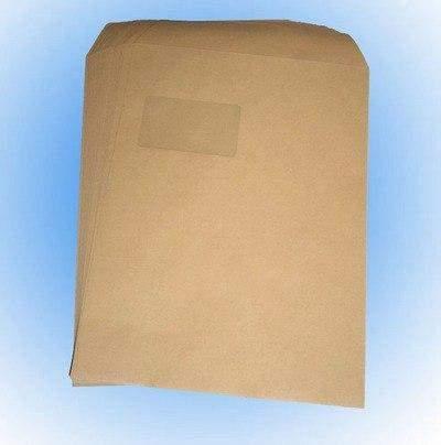 Versandtaschen C4 mit Fenster braun sk selbstklebende Briefumschläge (250 Stück)