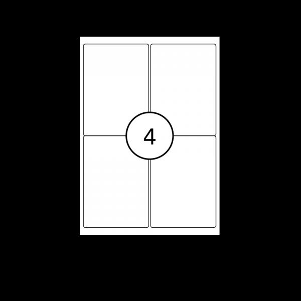 Etiketten mit abgerundeten Ecken auf A4 Bogen