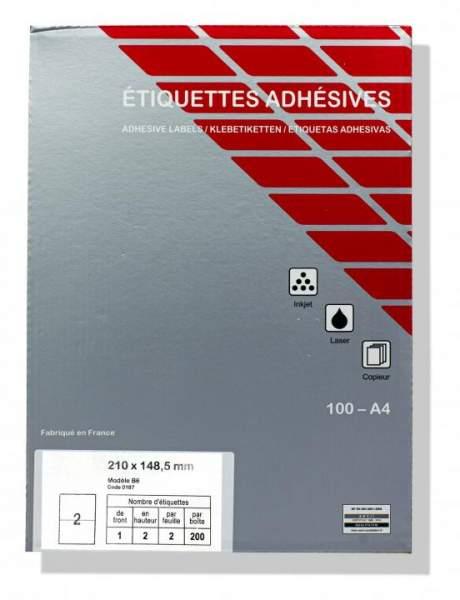 Druckeretiketten, Etiketten 210x148,5mm DIN A4 Label (1 Pckg. á 100 Blatt)