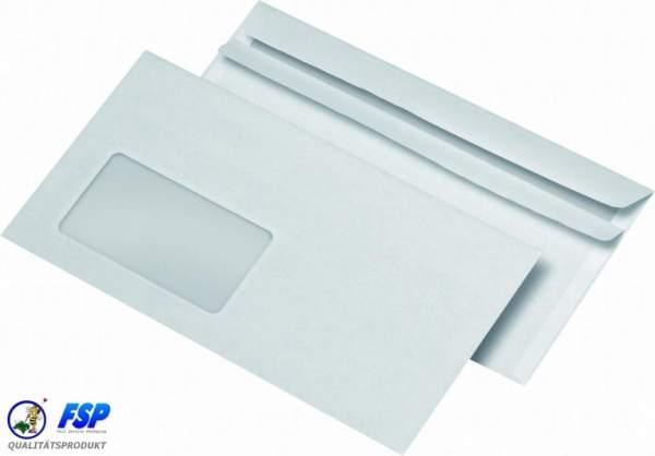 Weiße DIN Lang Briefumschläge 110x220mm 80g/qm mit Fenster sk (1000 Stück)