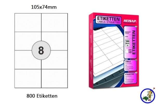 Papier-Etiketten 105x74mm DIN A4 weiß Druckeretiketten Label