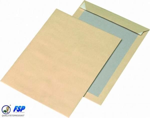 Braune Papprückwandtaschen DIN B4 ohne Fenster haftklebend