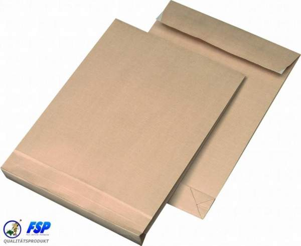 Braune DIN B4 250x353mm Faltentasche ohne Fenster