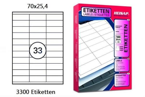 Papier-Etiketten 70x25,4mm DIN A4 Druckeretiketten weiß Label