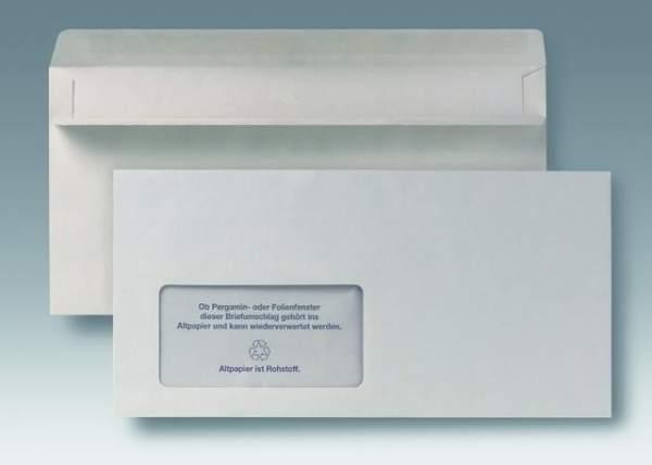 Briefumschläge DL grau mit Fenster sk Recycling RC 1000 St. im Karton