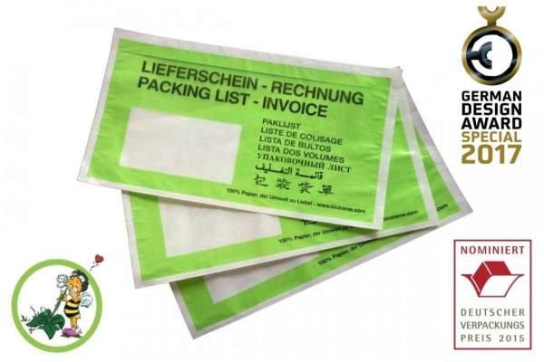 Grüne Lieferscheintaschen aus Papier DIN Lang (100 Stück.) Kleinpackung