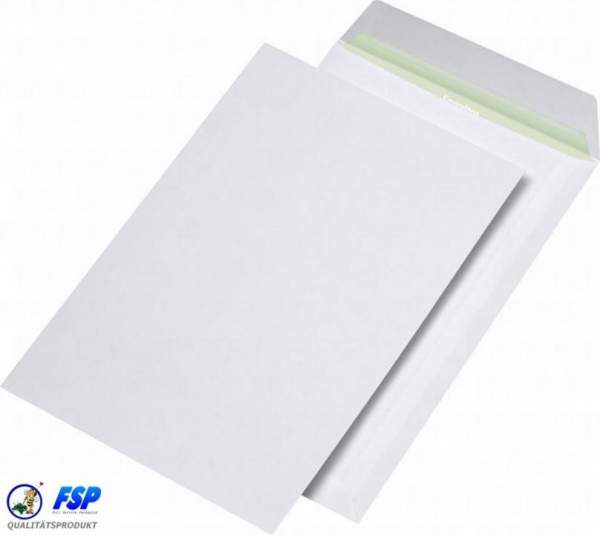 Weiße DIN C4 Briefumschläge 229x324mm 90g/qm ohne Fenster hk (250 Stück)