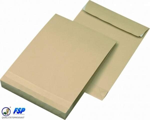 Braune DIN B4 250x353mm Faltentasche ohne Fenster haftklebend