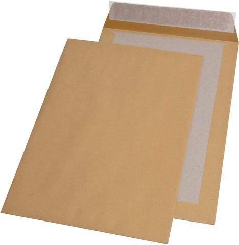 Papprückwandtaschen 229x324mm Braun ohne Fenster haftklebend