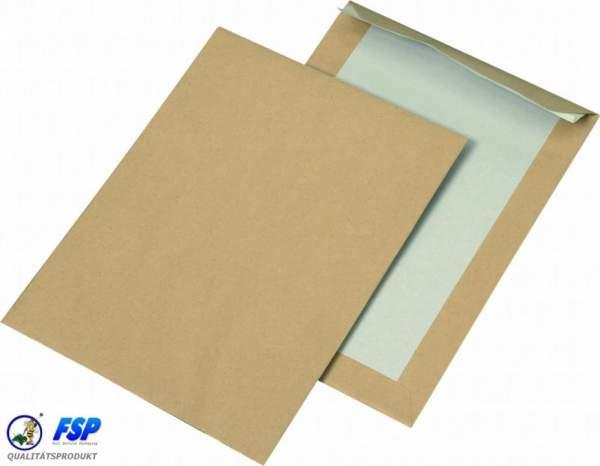 Braune Papprückwandtaschen DIN C5 162x229mm ohne Fenster haftklebend
