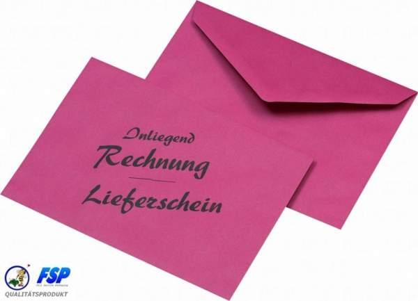 Lieferschein und Rechnung: rote recycelbare Briefumschläge mit Spitzklappe DIN Lang Maße:110x220mm nassklebend. Verpackungseinheit (VE) = 1000Stk.