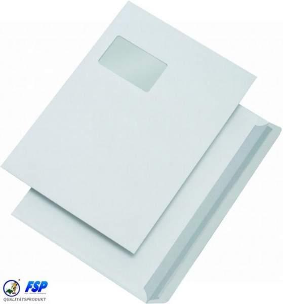 Weiße DIN C4 Briefumschläge 229x324mm 100g/qm mit Fenster hk (250 Stück)