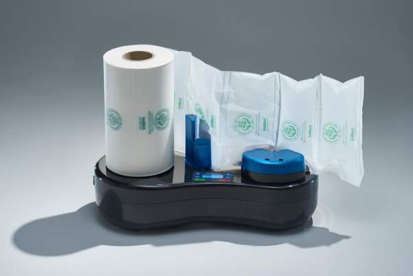 Biobiene Luftkissenmaschine Starterset mit einer Rolle heimkompostierbarer Luftkisssen