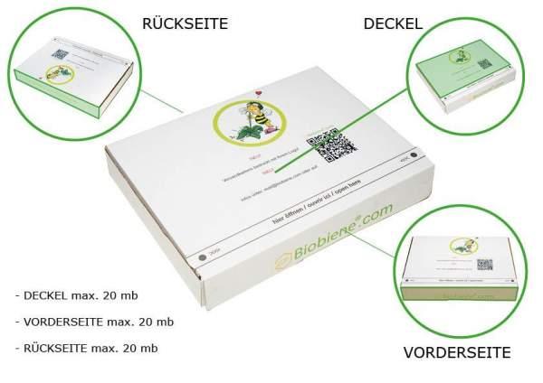 Druckbare Flächen bei bedruckten Kartons 215x155x30mm weiß