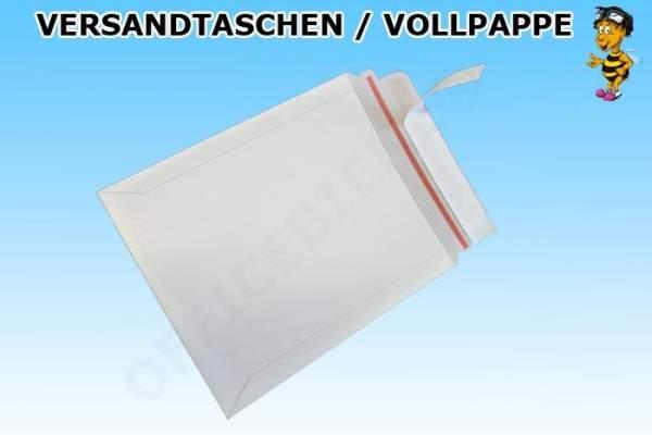 Versandtaschen aus Vollpappe 295x375mm weiss mit Selbstklebeverschluss