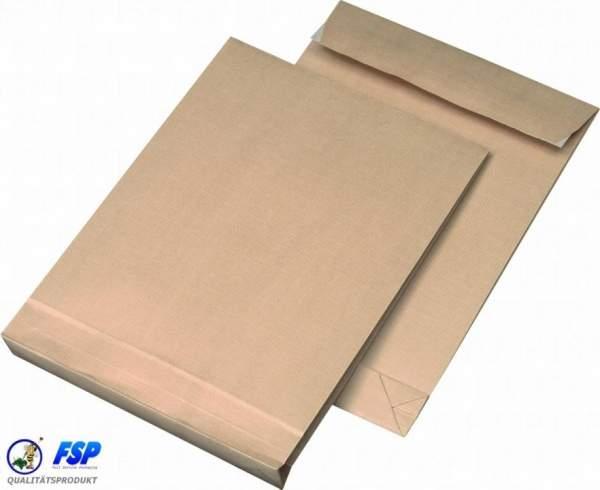 Braune DIN C4 229x324mm Faltentasche ohne Fenster
