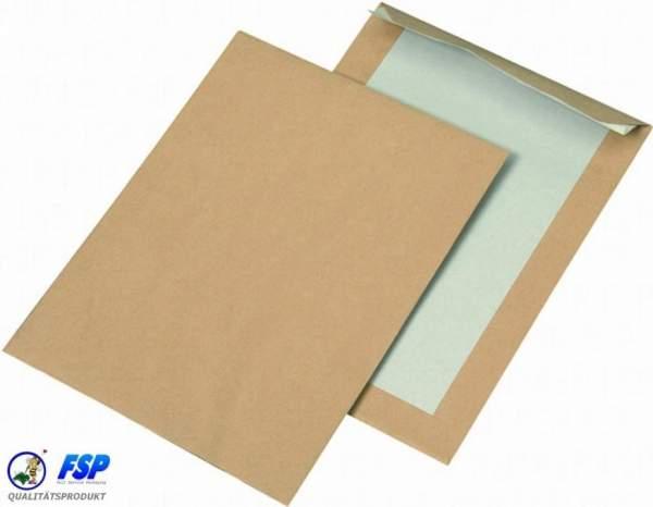 Braune Papprückwandtaschen  DIN B5 176x250mm  ohne Fenster haftklebend
