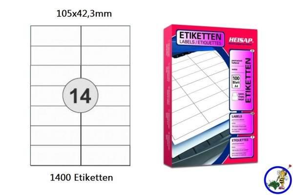 Papier-Etiketten 105x42,3mm DIN A4
