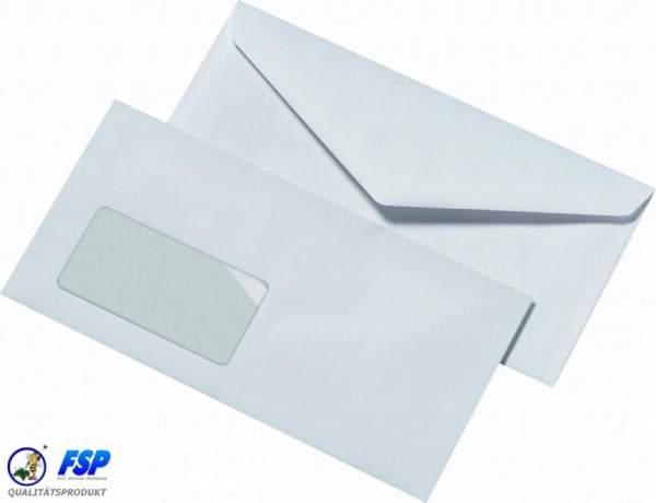 Weiße DIN Lang Briefumschläge 110x220mm 72g/qm mit Fenster nk (1000 Stück)