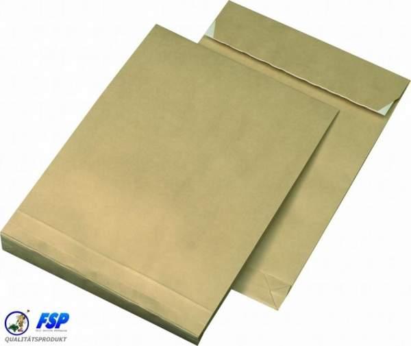 Braune Faltentaschen DIN E4 280x400mm ohne Fenster haftklebend