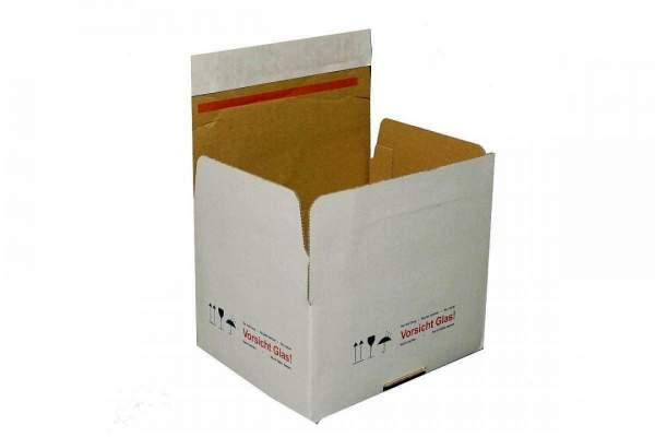 """Bedruckte Kartons """"Vorsicht Glas"""" weiß"""