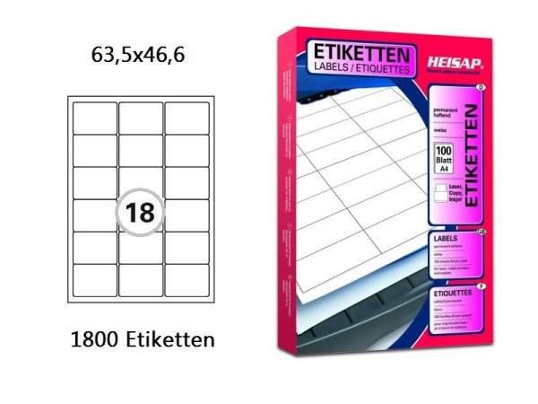 Papier-Etiketten 63,5x46,6mm DIN A4 Druckeretiketten Label