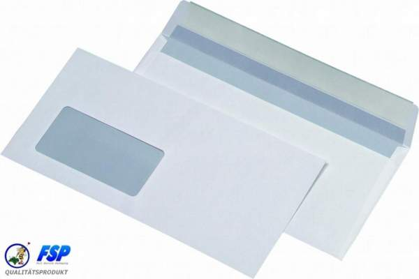 Weiße DIN Lang Briefumschläge 110x220mm 75g/qm mit Fenster hk (1000 Stück)